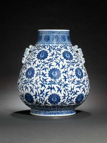 A large Ming-style blue and white vase, hu Qianlong seal mark and of the period