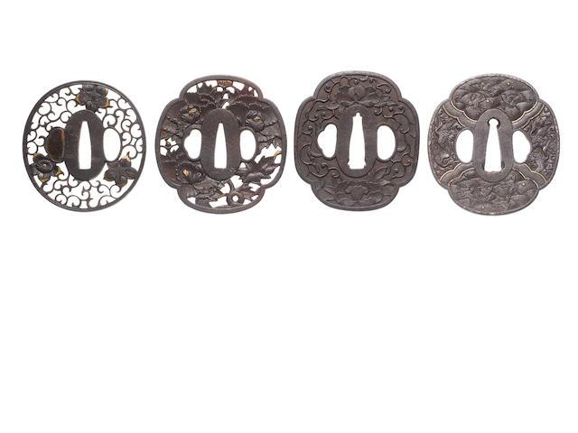 Five iron tsuba Edo Period, 18th/19th century