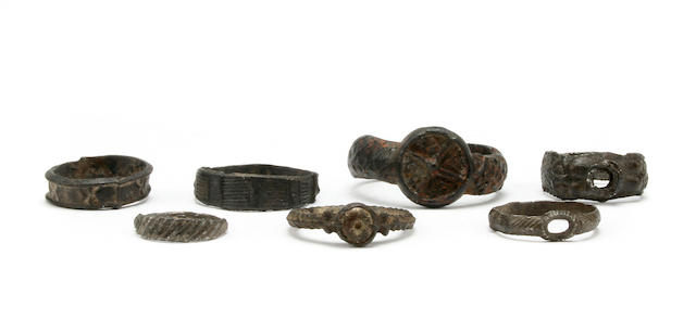 A Collection of tin alloy rings