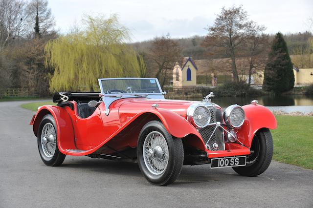 The 1938 Earls Court Show Car,1938  SS100 Jaguar 3 ½ litre Roadster  Chassis no. 39087 Engine no. M797E