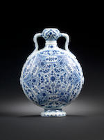 A rare Ming-style blue and white moonflask, bianhu 18th century 18th century
