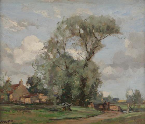 Robert Hope, RSA (British, 1869-1936) Farm scene