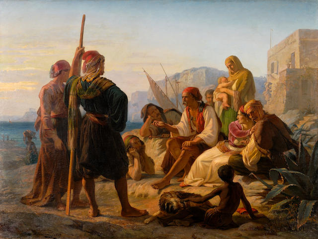 Pierre Bonirote (French, 1811-1891) A Greek fisherman narrating his adventures in front of Cape Sounion 98 x 130 cm