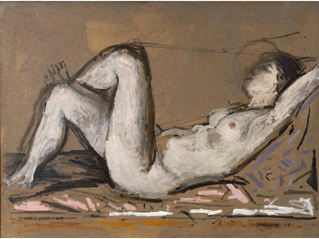 Yiannis Moralis (Greek, born 1916) Reclining nude 50.5 x 70 cm