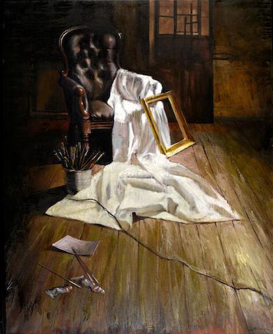 Tassos Chonias (Greek, born 1977) Interior of an atelier 150 x 120 cm