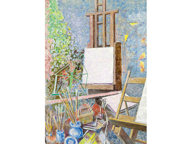 Nikos Hadjikyriakos-Ghika (Greek, 1906-1994) Studio with easel 122 x 86 cm