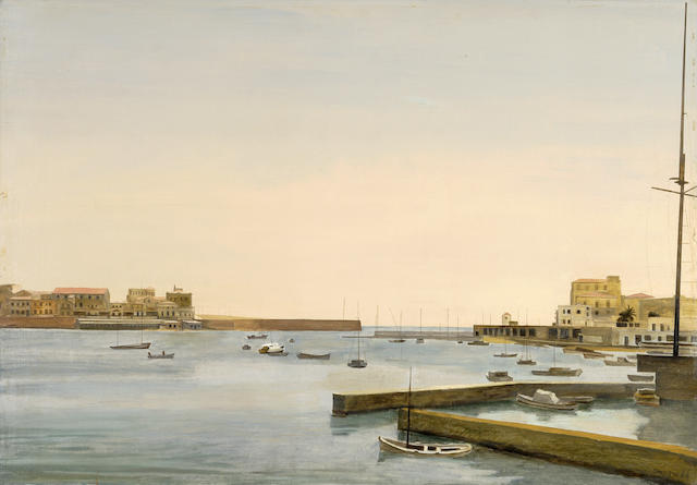 Yiannis Tsarouchis (Greek, 1910-1989) View of Pasalimani, Piraeus 81 x 116 cm