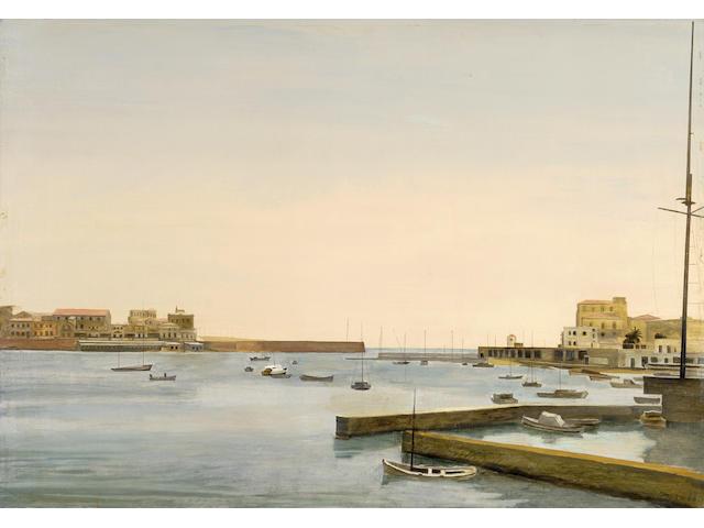Yiannis Tsarouchis (Greek, 1910-1989) View of Pasalimani, Piraeus 81 x 116 cm
