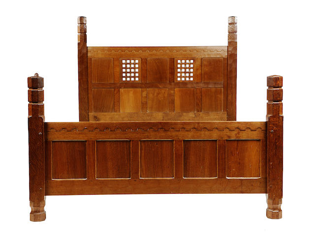 A 'Mouseman' oak three-quarter oak bedstead executed in 1964 to specific client instructions,