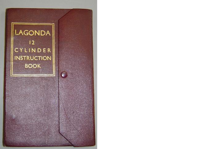 Lagonda 12 cylinder instruction book