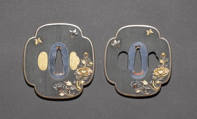 An elegant pair of mokko-gata tsuba for a Daisho Edo Period
