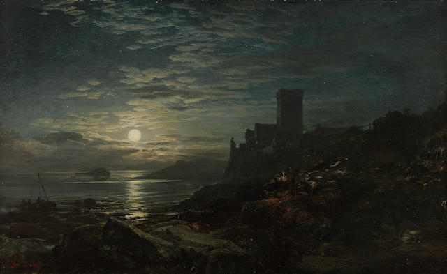 "Samuel Bough, RSA (British, 1822-1878) ""Inchcolm, moon rising"""