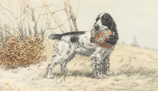 Leon Danchin (French, 1887-1939) Spaniel with a woodcock signed in pencil, no.69/500,  23 x 42cm.