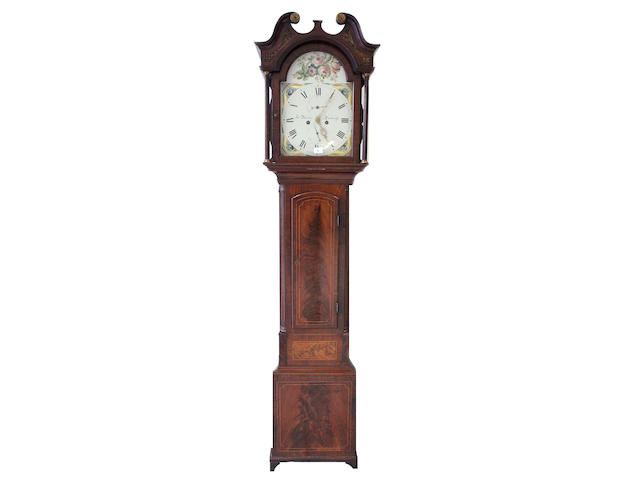 A George III mahogany 8 day longcase clock, the arched flower painted dial signed Jas. Ritchie, Edinburgh,