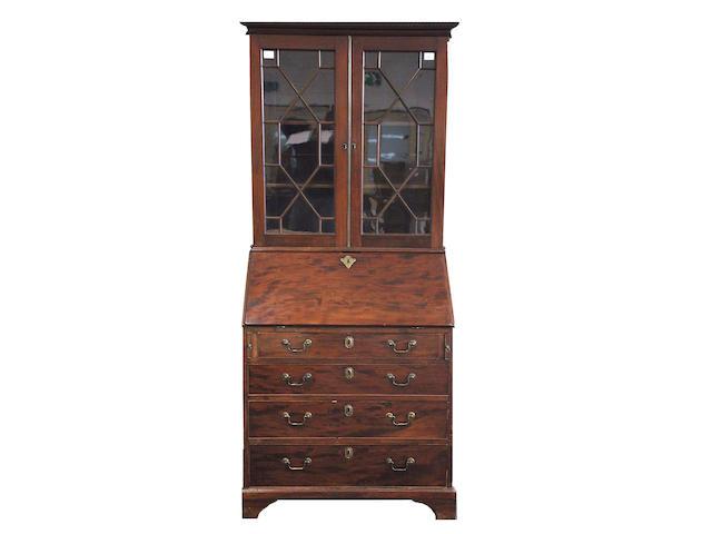 A George III mahogany bureau bookcase,