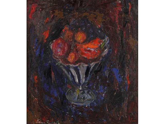 Anne Redpath, OBE RSA ARA LLD ARWS ROI RBA (British, 1895-1965) Still life, fruit in a striped bowl (c1960)