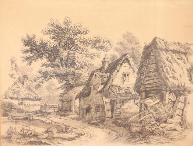 After John Sell Cotman (British, 1782-1842) Thatched cottage and barns, bears signature, pencil,