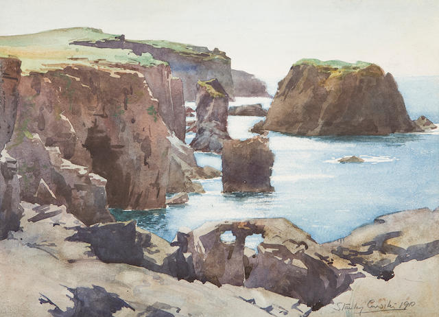 Sir Stanley Cursiter, CBE RSA RSW (British, 1887-1976) Moo Stack, Shetland