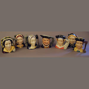 Seven Henry VIII related Royal Doulton character jugs