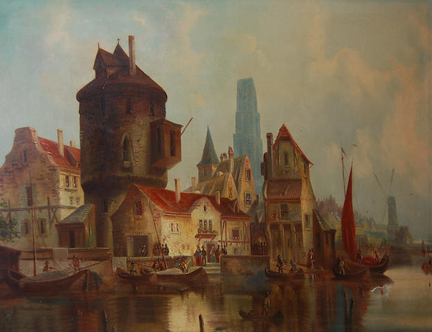 Continental School circa 1880 A Dutch river town scene with barges,