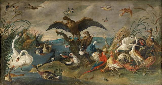 Jan van Kessel II (Antwerp 1626-1679) The Coronation of the King of the Birds