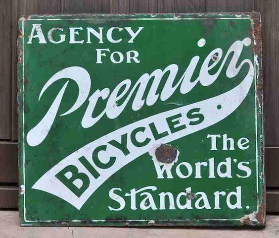 An 'Agency for Premier Bicycles - The World's Standard' double-sided enamel sign, c1900,