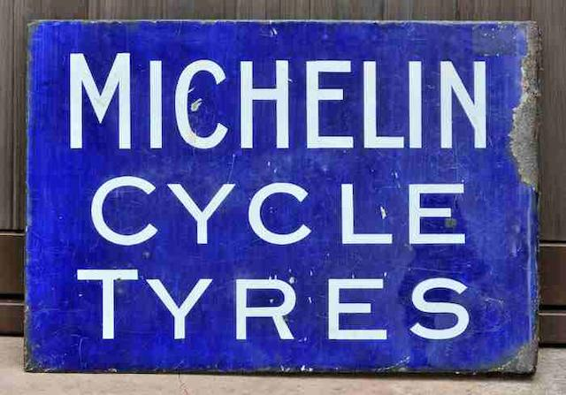 A 'Michelin Cycle Tyres' double-sided enamel sign, c1910,