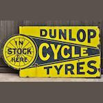 A 'Dunlop Cycle Tyres in Stock Here' double-sided enamel sign, c1910,