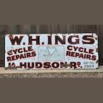 An interesting 'W H Ings Cycle Repairs' enamel sign, c1907,