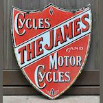 A 'The James Cycles and Motor Cycles' double-sided shield-shaped enamel sign, c1912,