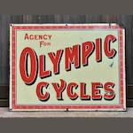An 'Agency For Olympic Cycles' enamel sign, c1910,
