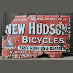 A 'New Hudson Bicycles - Easy Running and Durable' enamel sign, c1905,