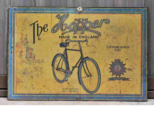 A 'The Hopper - Made in England' lithographed tin showcard, c1930,