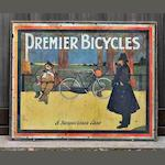 A 'Premier Bicycles - A Suspicious Case' lithographed showcard, c1905,