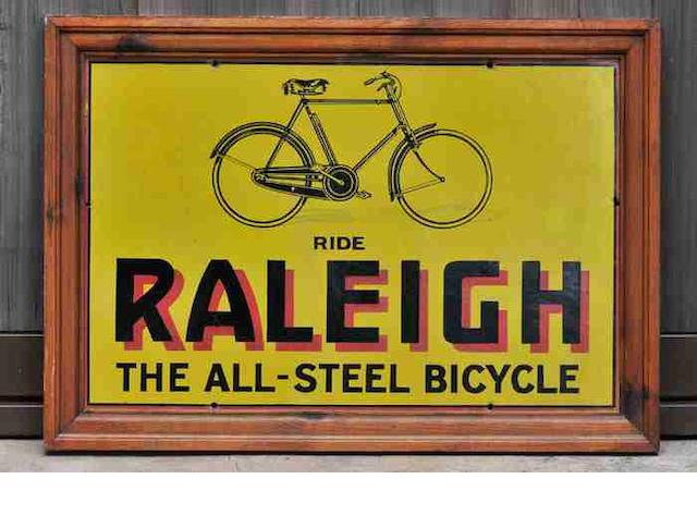 A 'Ride Raleigh - The All Steel Bicycle' enamel sign, c1935,