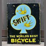 A 'Swift - The World's Best Bicycle' double-sided enamel sign, c1920,