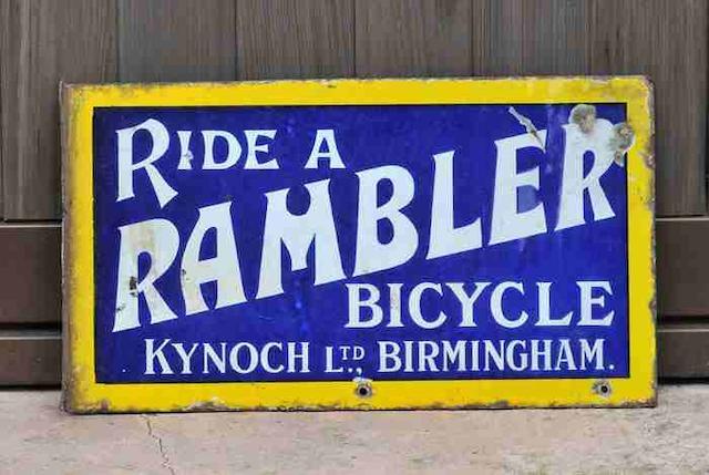 A 'Ride A Rambler - Kynoch Ltd Birmingham' double-sided enamel sign, c1910,
