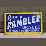 A 'Ride A Rambler - Kynoch Ltd Birmingham' double-sided enamel sign, c1910,