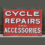 A 'Cycle Repairs and Accessories' double-sided enamel sign, c1910,