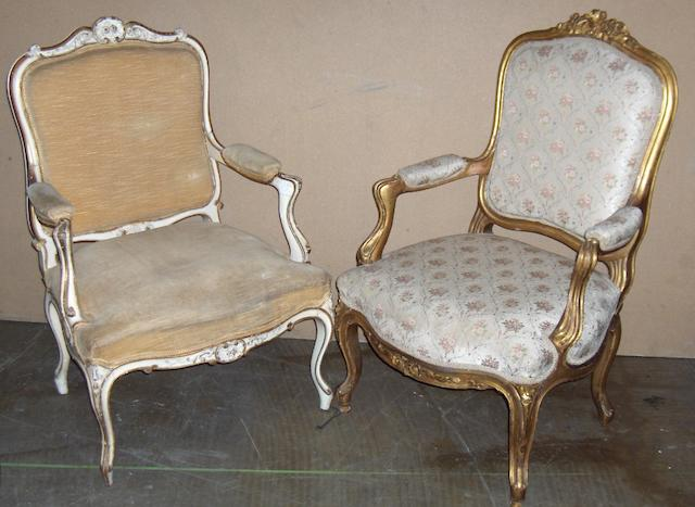 Two Louis XV style fauteuils,