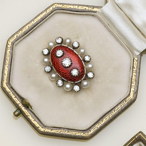 A late 19th century diamond, pearl and enamel brooch