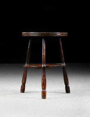 An elm and oak primitive cricket table, Cornish, circa 1800