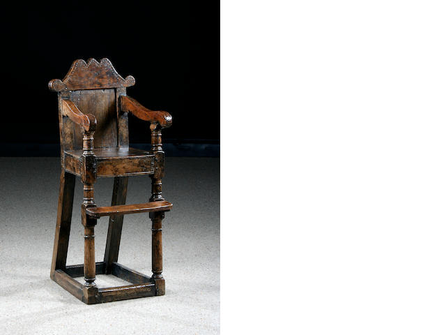 A late 17th Century oak child's high chair