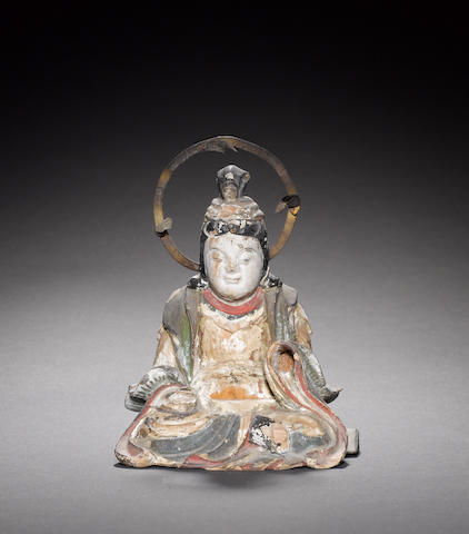 A painted-wood figure of a seated Buddhist Deity or Shinto Kami
