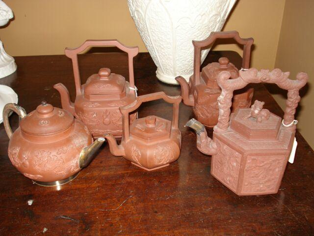 Chinese red stoneware teapots:-