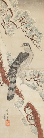 A collection of five Japanese block prints by Eisen, Eizan and Hiroshige - various sizes largest 67 x 25cm