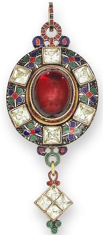 A garnet, chrysoberyl and enamel Holbeinesque pendant,