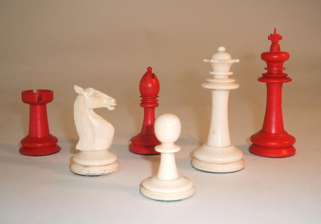 "A ""Staunton Pattern"" camel bone chess set, Indian Export, circa 1920,"