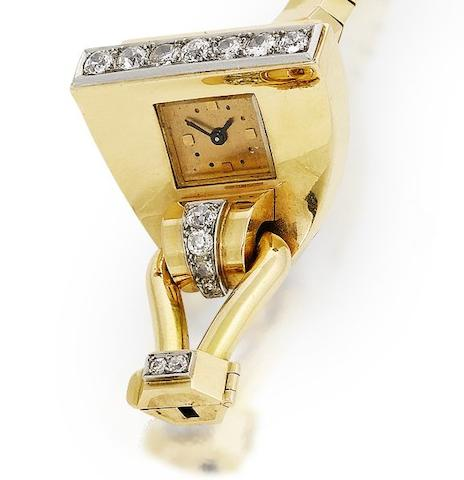 A diamond-set 'fan' wristwatch, by Boucheron,