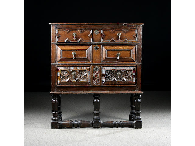 An oak chest on stand, part 17th Century